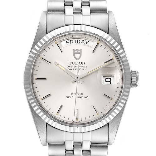 Photo of Tudor Day Date Silver Dial Steel White Gold Vintage Mens Watch 94614