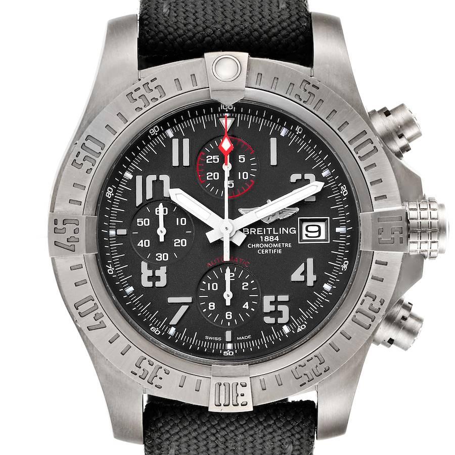 Breitling Avenger Bandit Grey Dial Green Stap Titanium Watch E13383 Box Papers SwissWatchExpo