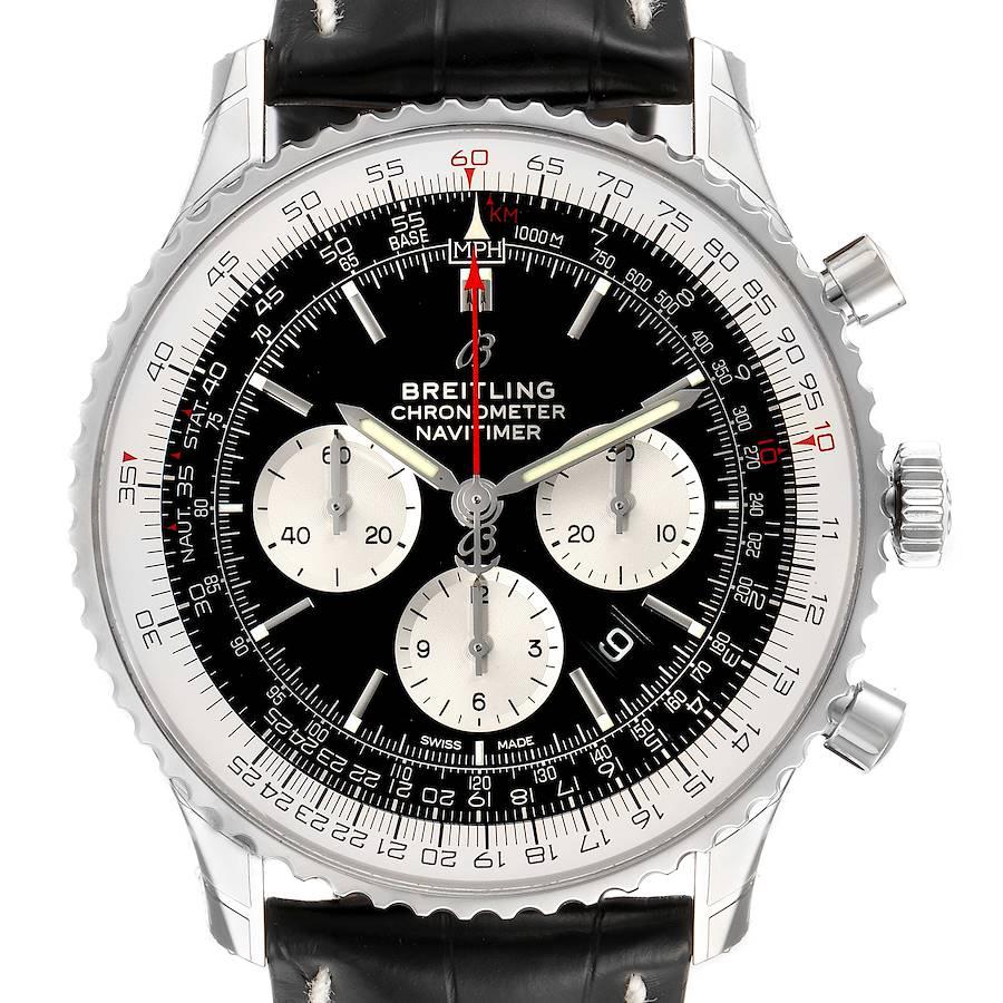 Breitling Navitimer 01 46mm Black Steel Dial Mens Watch AB0127 Unworn SwissWatchExpo