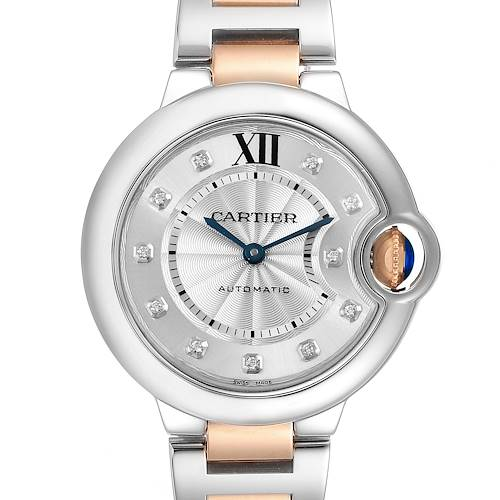 Photo of Cartier Ballon Bleu 33 Steel Rose Gold Diamond Watch WE902061 Box Papers