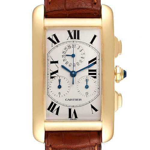 Photo of Cartier Tank Americaine Chronograph Yellow Gold Mens Watch W2601156