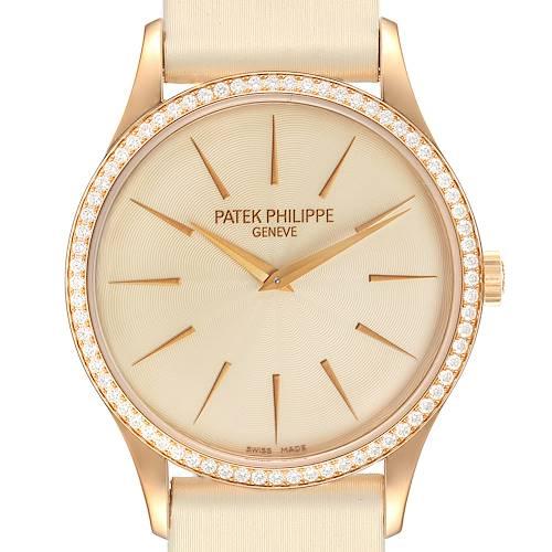 Photo of Patek Philippe Calatrava Rose Gold Beige Dial Diamond Ladies Watch 4897