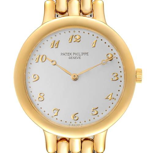 Photo of Patek Philippe Calatrava Yellow Gold Silver Arabic Dial Mens Watch 3915