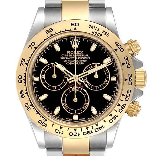 Photo of Rolex Cosmograph Daytona Steel Yellow Gold Black Dial Watch 116503 Box Card