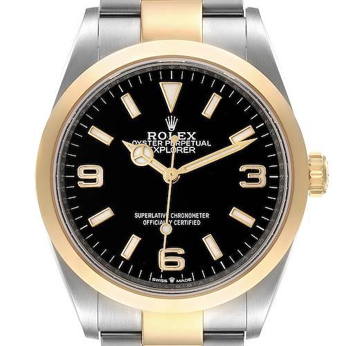 Photo of Rolex Explorer I Steel Yellow Gold Black Dial Mens Watch 124273 Unworn