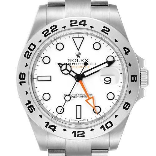 Photo of Rolex Explorer II 42 White Dial Orange Hand Steel Mens Watch 216570 Box Card