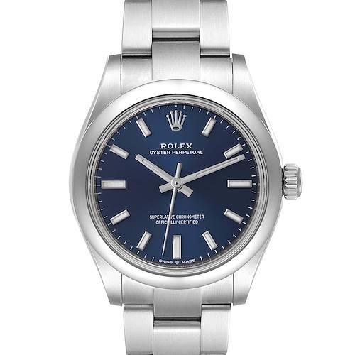 Photo of Rolex Midsize 31mm Blue Dial Automatic Steel Ladies Watch 277200 Unworn