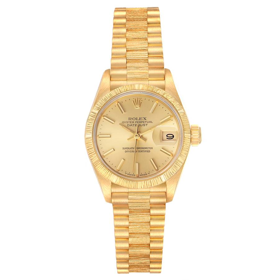 Rolex President Datejust 18K Yellow Gold Bark Finish Ladies Watch 69278 SwissWatchExpo