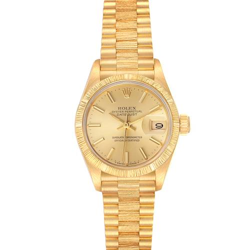 Photo of Rolex President Datejust 18K Yellow Gold Bark Finish Ladies Watch 69278