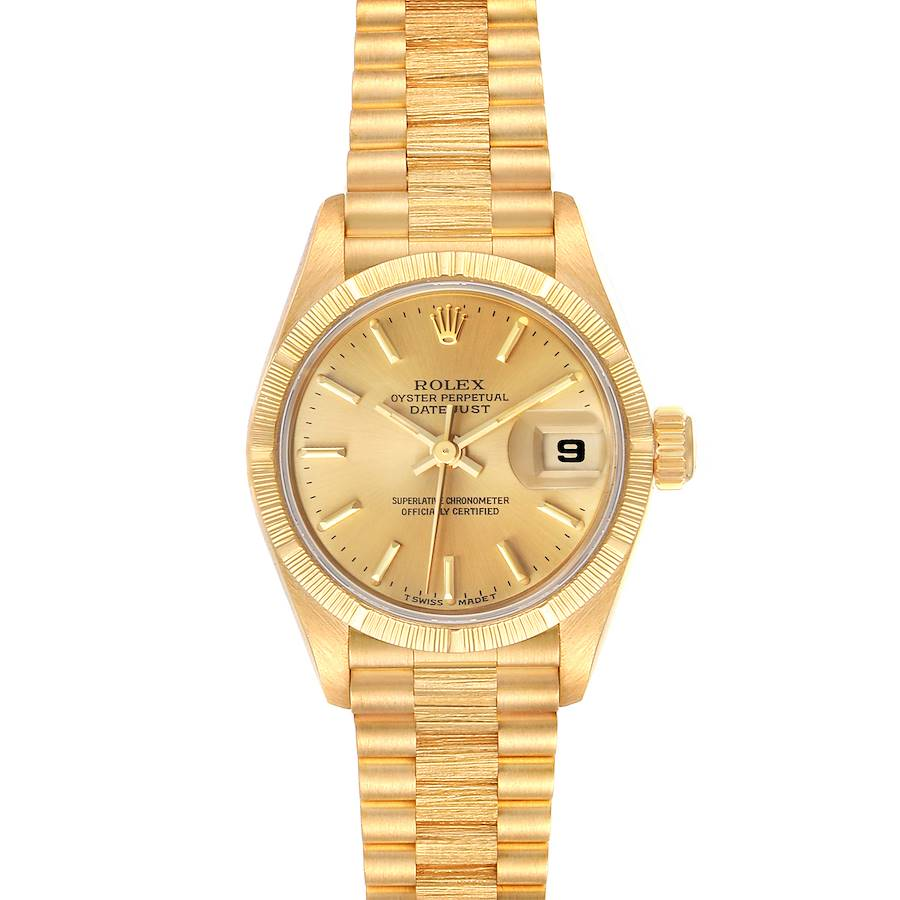 Rolex President Datejust 18K Yellow Gold Bark Finish Watch 69278 Box Papers SwissWatchExpo
