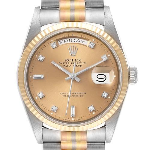 Photo of Rolex President Day-Date Tridor White Yellow Rose Gold Diamond Watch 18039
