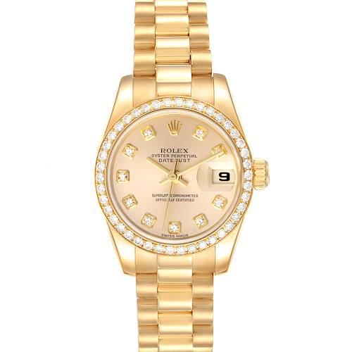 Photo of Rolex President Ladies Yellow Gold Diamond Watch 179138 Box Papers