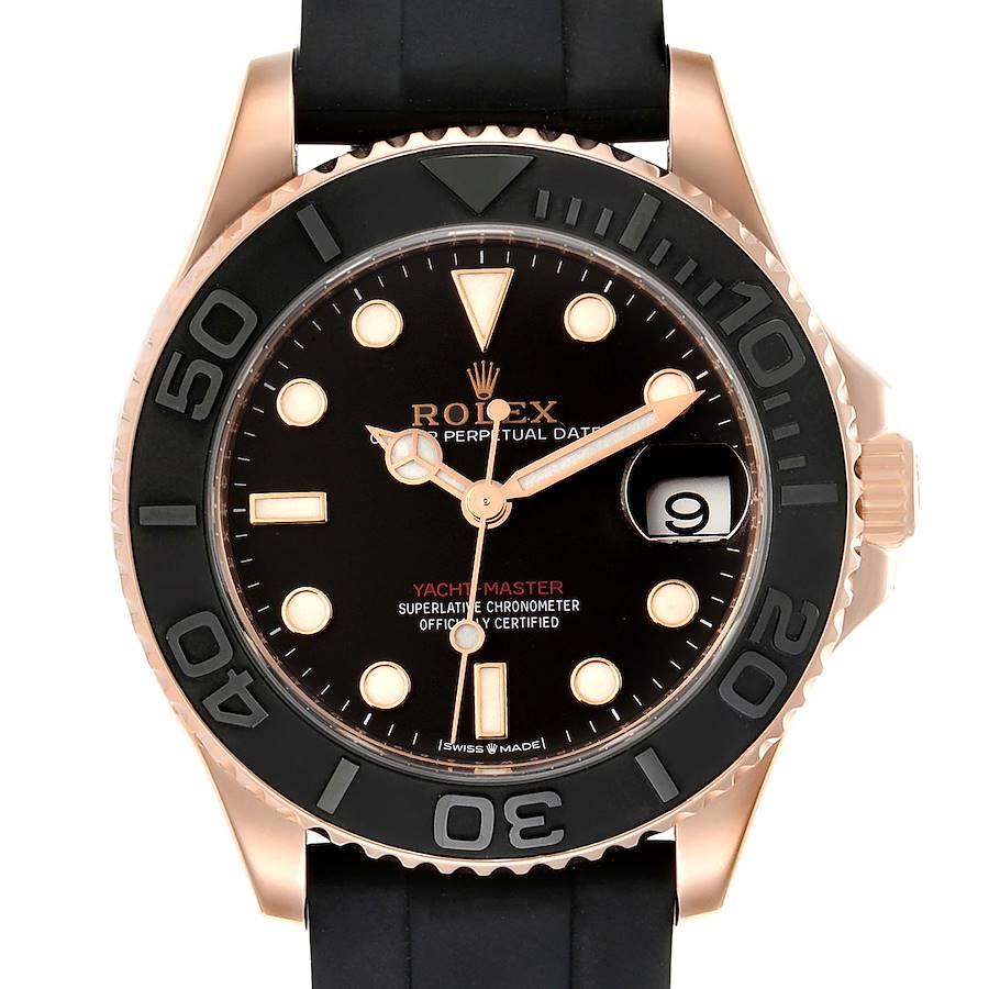 Rolex Yachtmaster 37 18K Everose Gold Rubber Strap Watch 268655 Box Card SwissWatchExpo