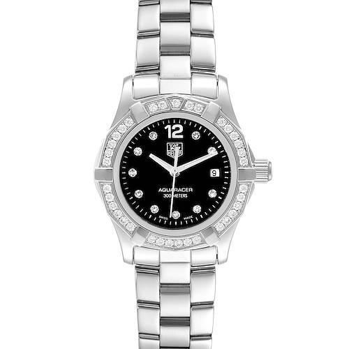 Photo of TAG Heuer Aquaracer Black Dial Diamond Steel Ladies Watch WAF141D