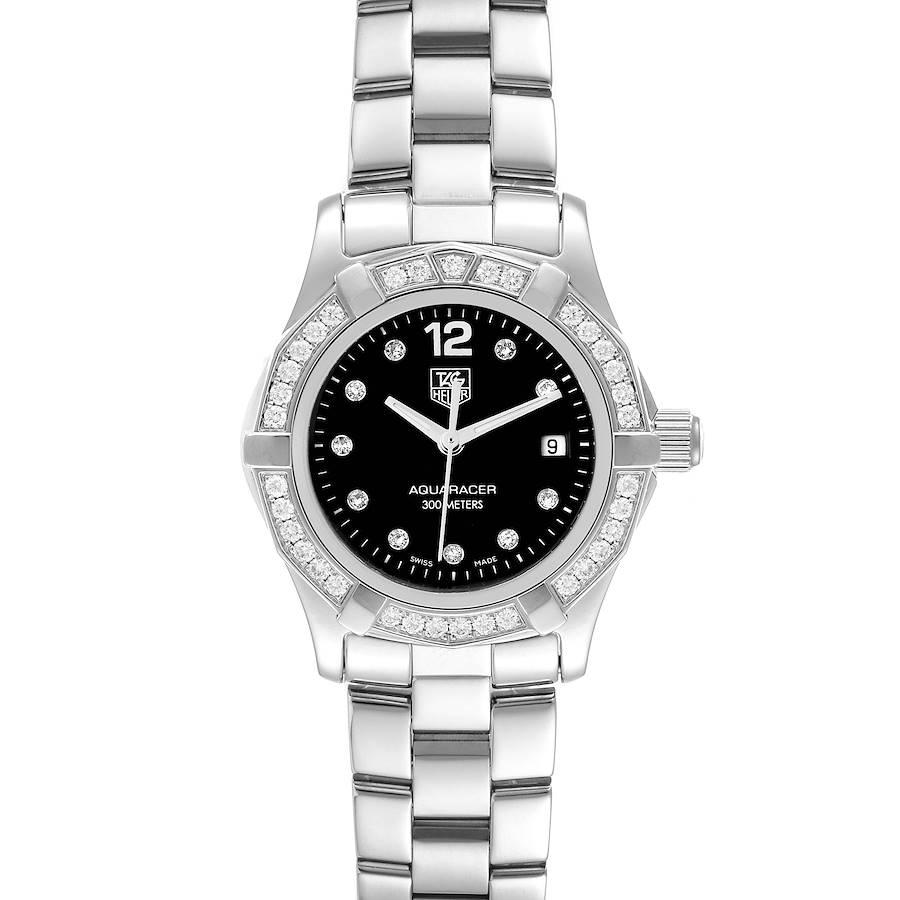 TAG Heuer Aquaracer Black Dial Diamond Steel Ladies Watch WAF141D SwissWatchExpo