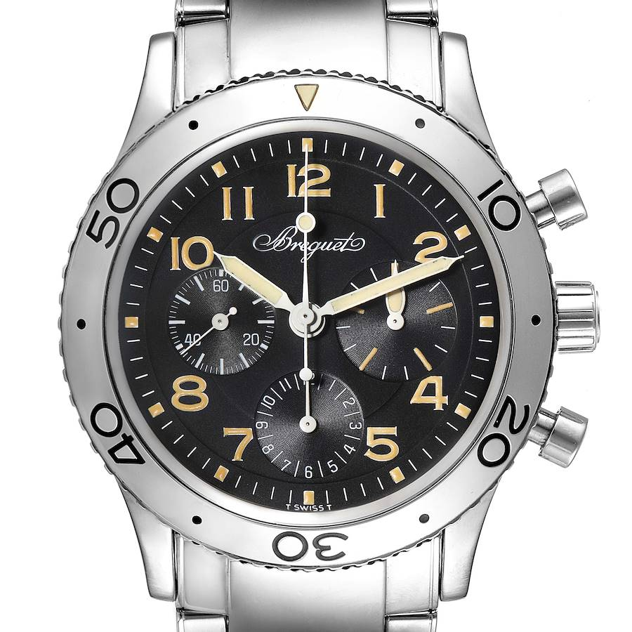 Breguet Aeronavale Type XX Flyback Black Dial Steel Mens Watch 3800 SwissWatchExpo
