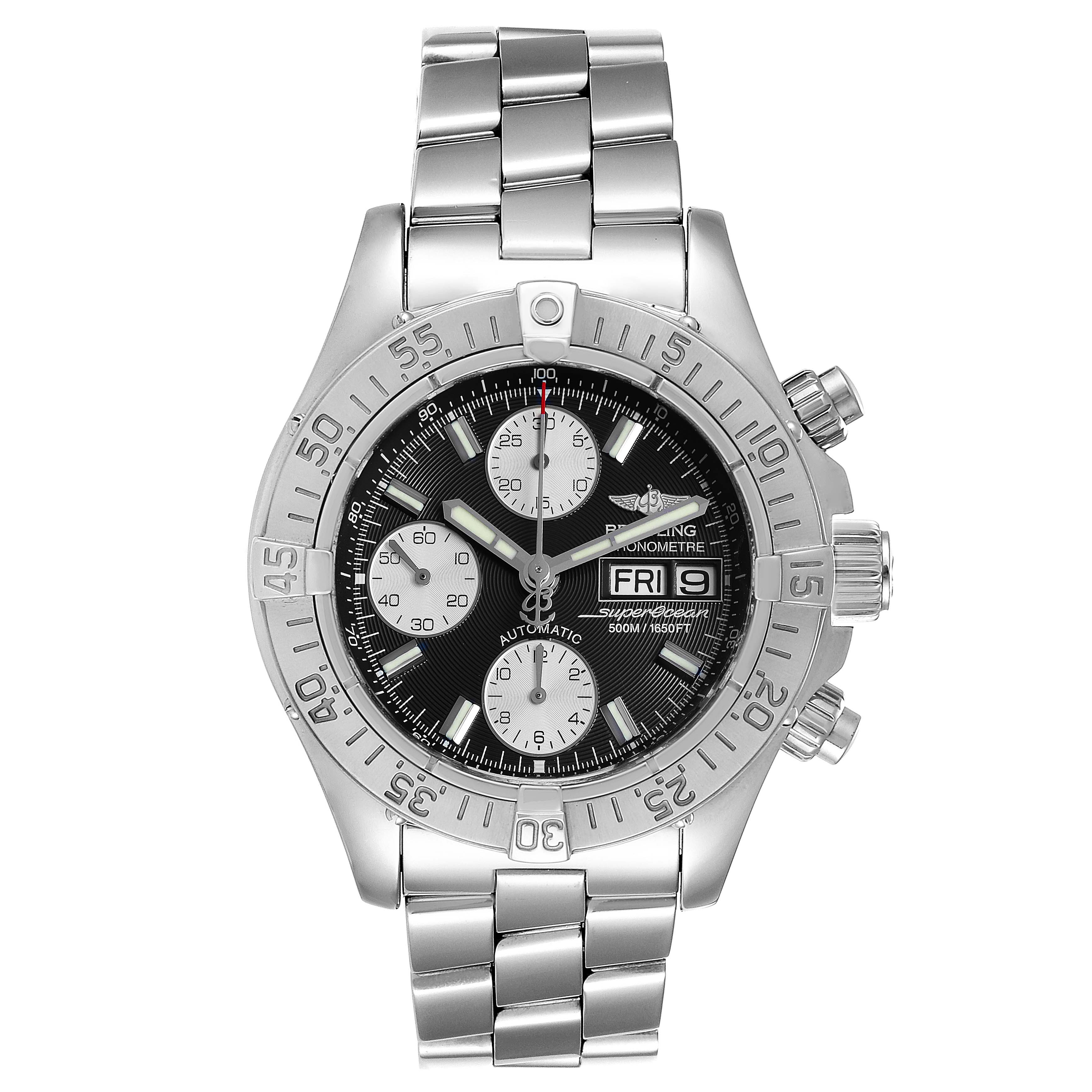 Breitling Superocean 42 Black Dial Chronograph Steel Mens Watch A13340 SwissWatchExpo