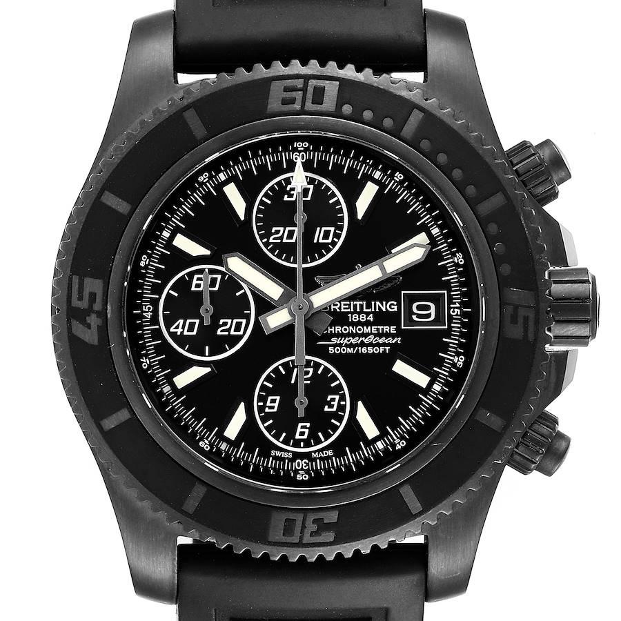 Breitling SuperOcean II Black Dial PVD Steel Mens Watch M13341 Box Papers SwissWatchExpo