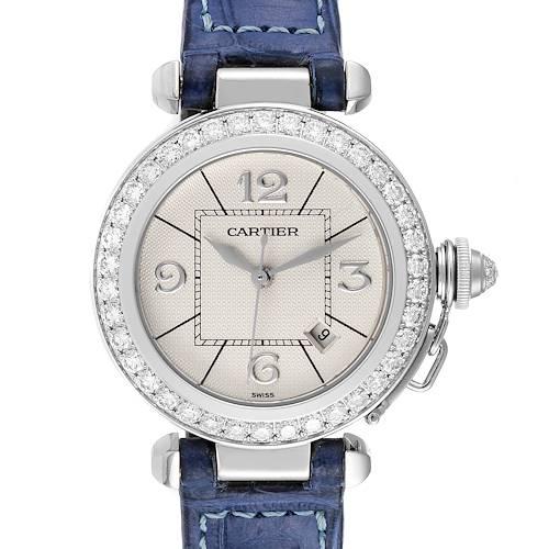 Photo of Cartier Pasha 32 White Gold Blue Strap Diamond Ladies Watch WJ111651