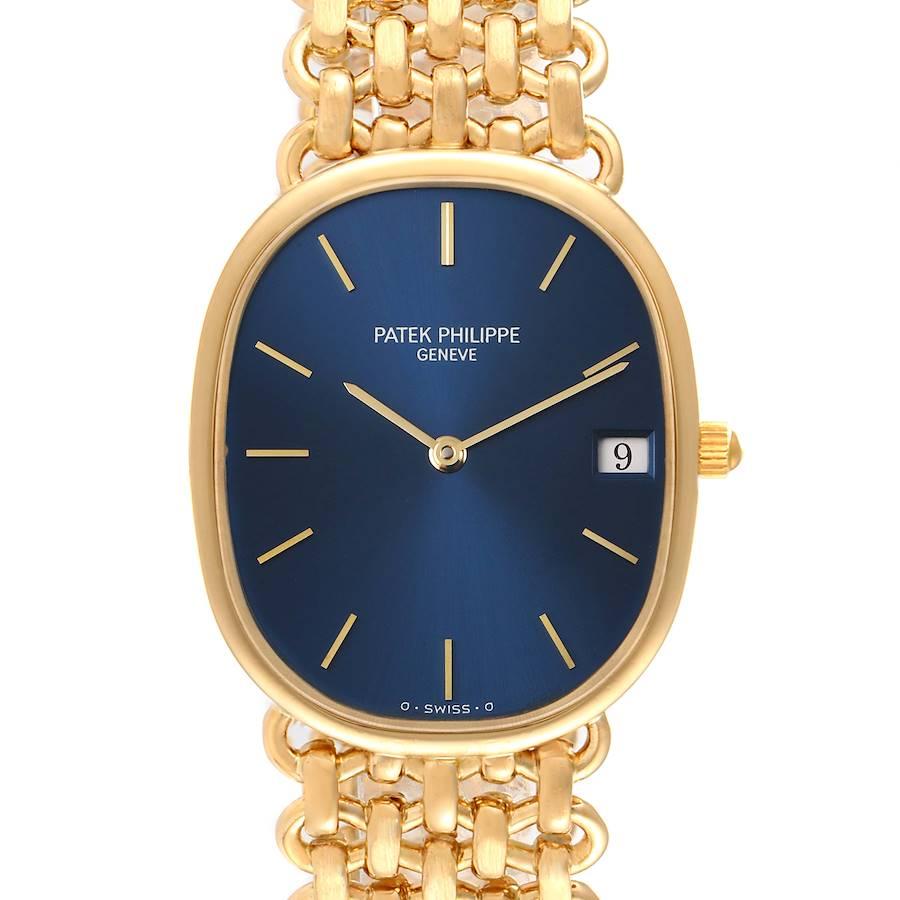 Patek Philippe Golden Ellipse Yellow Gold Blue Dial Ladies Watch 3788 SwissWatchExpo