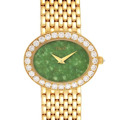 Photo of Piaget 18k Yellow Gold Jadeite Dial Diamond Ladies Watch P10242