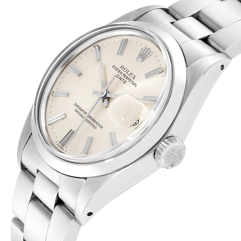 Rolex Date Silver Dial Domed Bezel Vintage Mens Watch 1500 Papers SwissWatchExpo