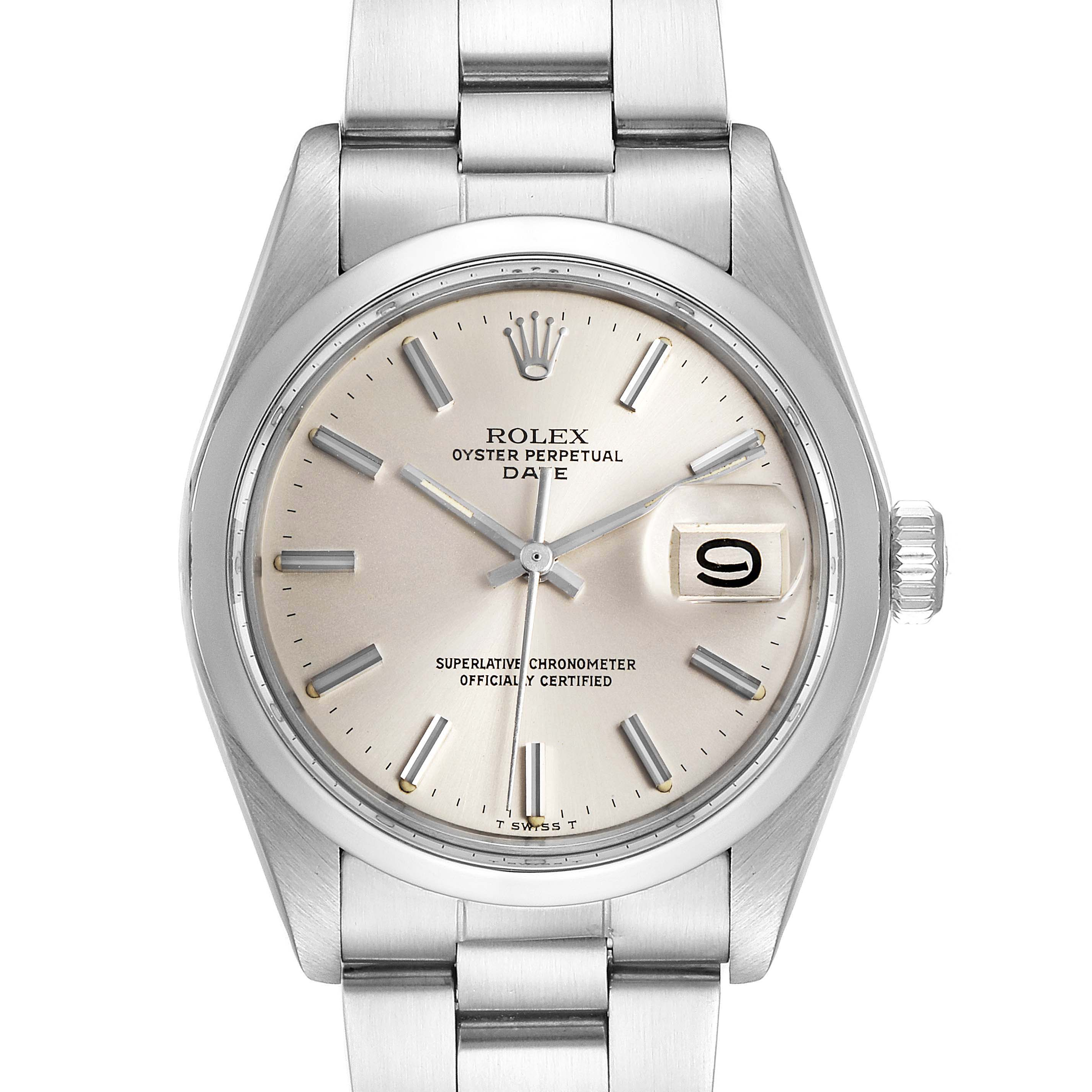 Photo of Rolex Date Silver Dial Domed Bezel Vintage Mens Watch 1500 Papers