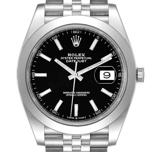 Photo of Rolex Datejust 41 Black Dial Steel Mens Watch 126300 Box Card