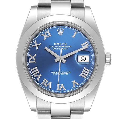 Photo of Rolex Datejust 41 Blue Dial Steel Mens Watch 126300 Box Card