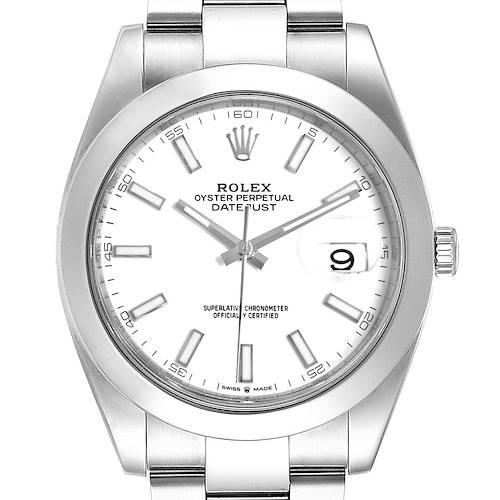 Photo of Rolex Datejust 41 White Dial Steel Mens Watch 126300 Box Card