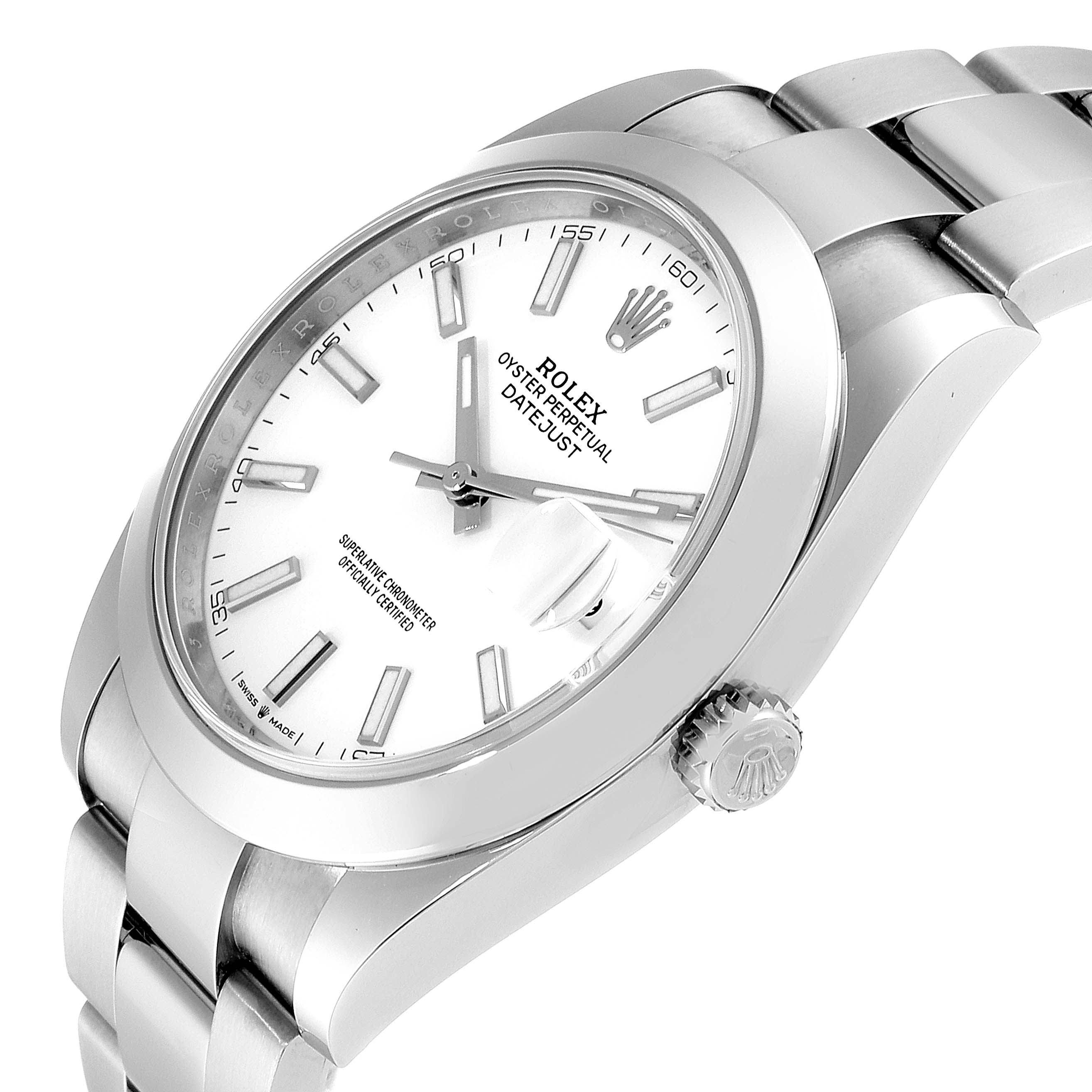 Rolex Datejust 41 White Dial Steel Mens Watch 126300 Box Card SwissWatchExpo