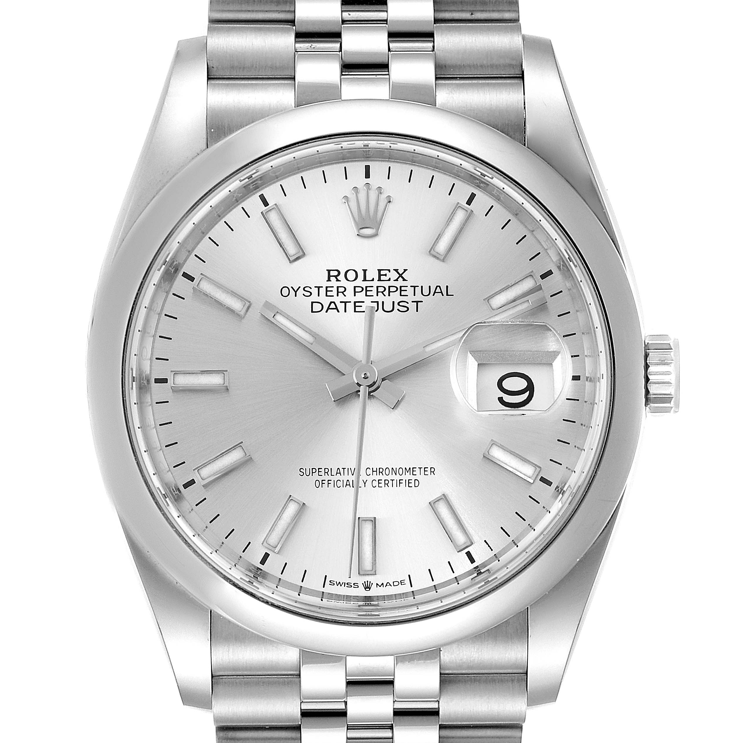 Photo of Rolex Datejust Silver Dial Jubilee Bracelet Mens Watch 126200 Box Card