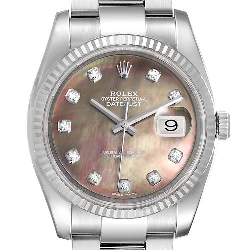 Photo of Rolex Datejust Steel White Gold MOP Diamond Mens Watch 116234 Box Card
