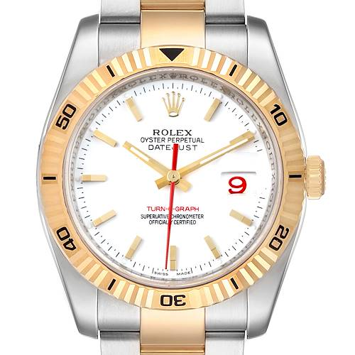 Photo of Rolex Datejust Turnograph Steel Yellow Gold Mens Watch 116263 Box Papers