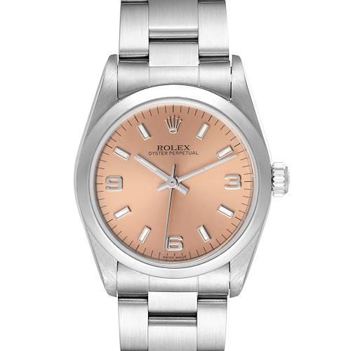 Photo of Rolex Midsize Salmon Dial Domed Bezel Steel Ladies Watch 77080