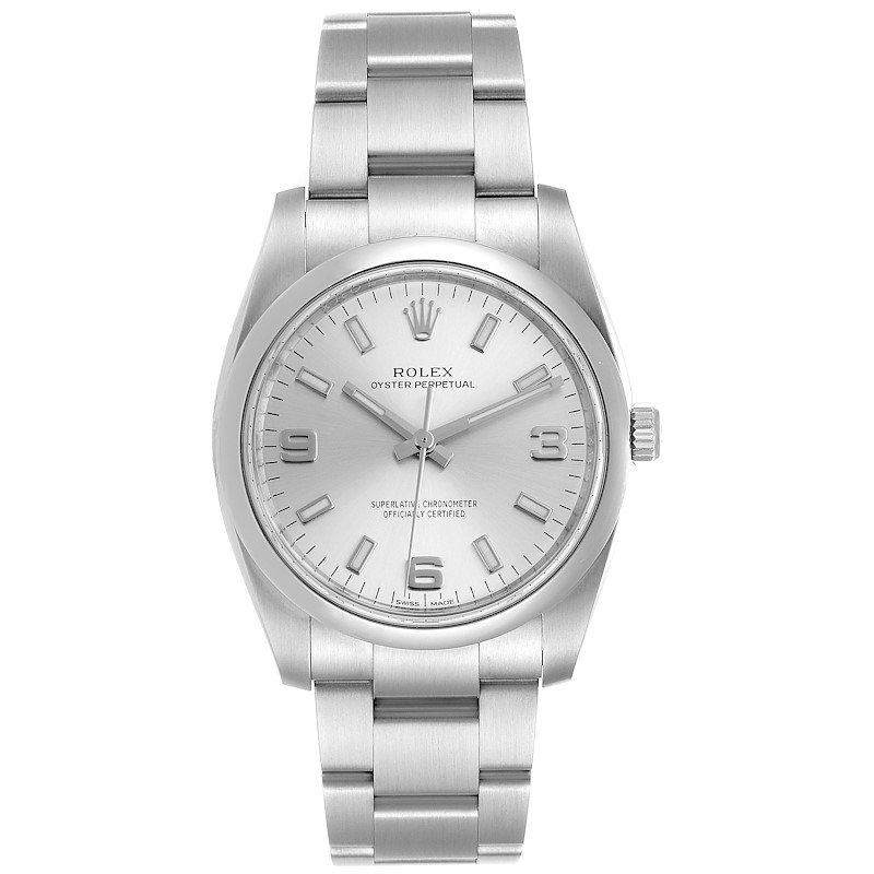 Rolex Oyster Perpetual Silver Dial Steel Mens Watch 114200 SwissWatchExpo