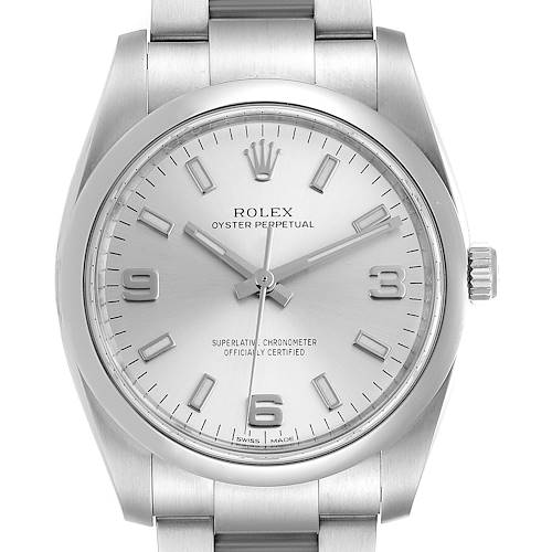 Photo of Rolex Oyster Perpetual Silver Dial Steel Mens Watch 114200