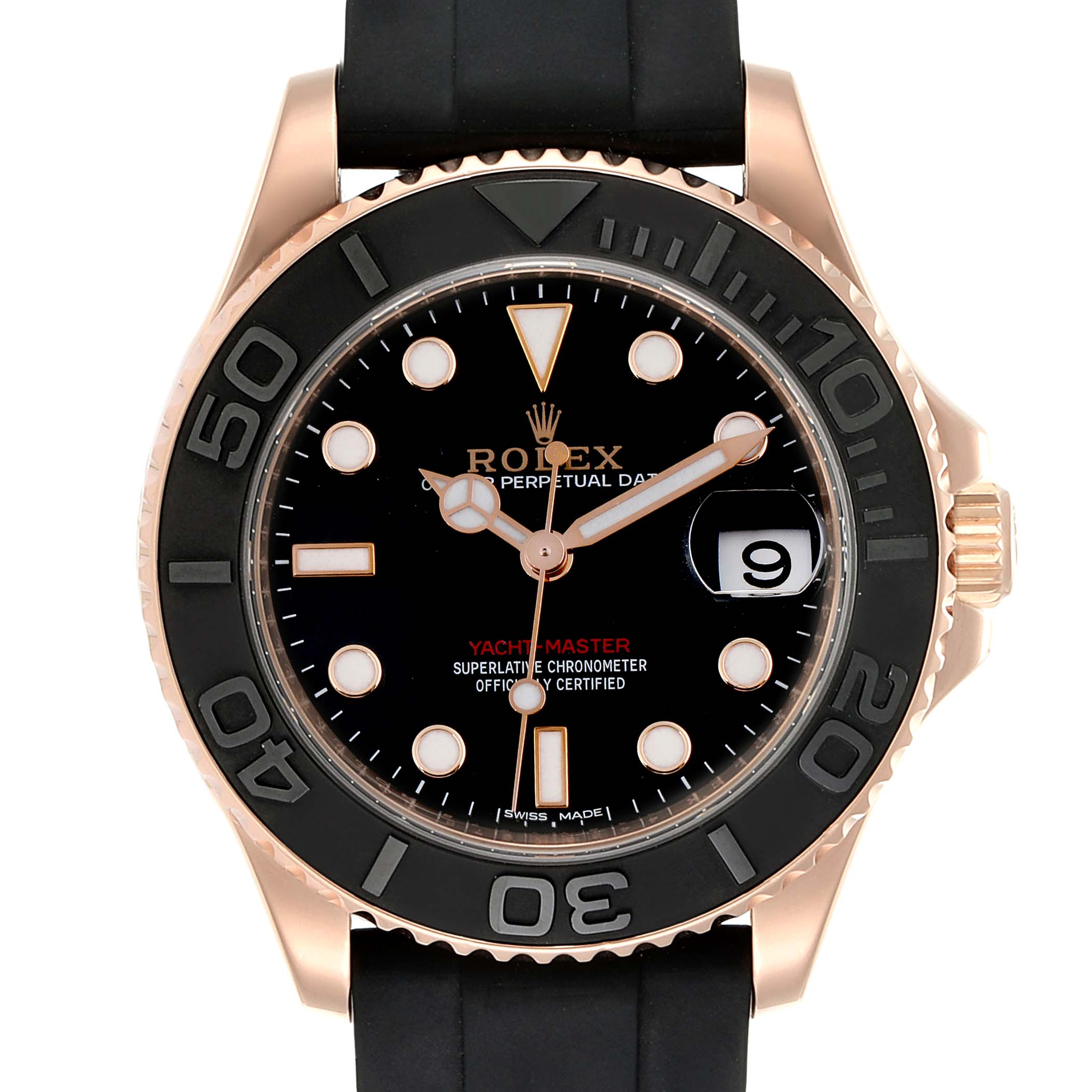 Photo of Rolex Yachtmaster 37 18K Everose Gold Rubber Strap Mens Watch 268655