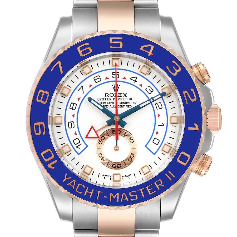 Rolex Yachtmaster II Rolesor EveRose Gold Steel Mens Watch 116681 Box Card SwissWatchExpo