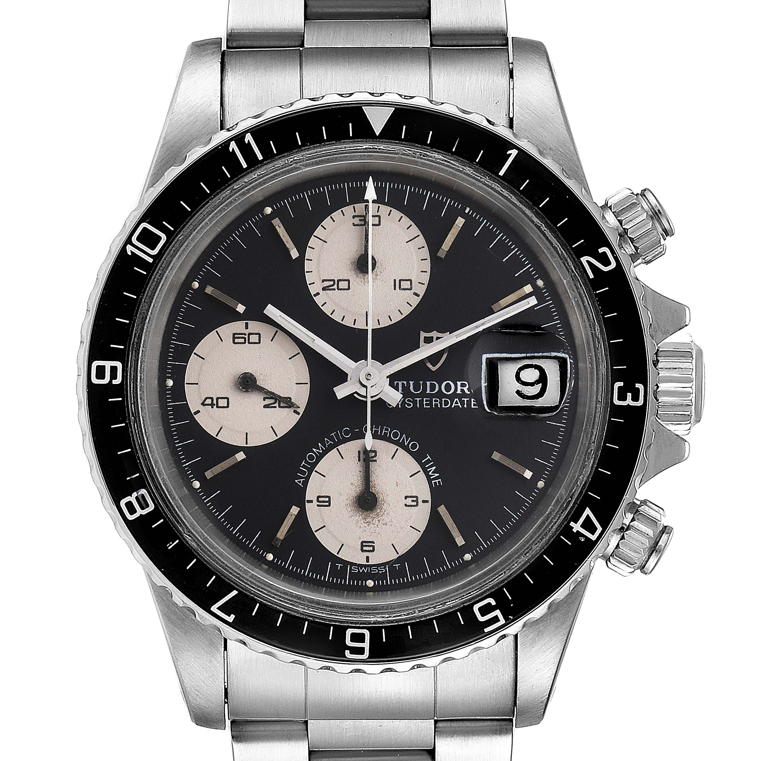 Photo of Tudor Oysterdate Big Block Vintage Chronograph Steel Mens Watch 79170