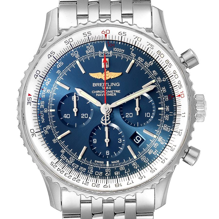 Breitling Navitimer 01 46mm Aurora Blue Dial Mens Watch AB0127 Box Papers SwissWatchExpo