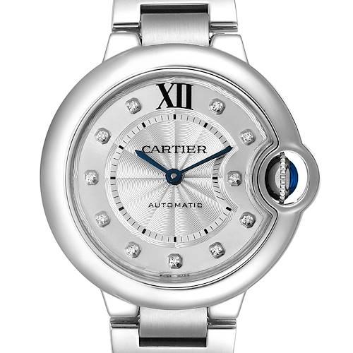 Photo of Cartier Ballon Bleu 33mm Automatic Diamond Steel Ladies Watch WE902074