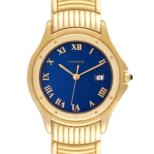 Photo of Cartier Cougar 18K Yellow Gold Blue Dial Unisex Watch 11651