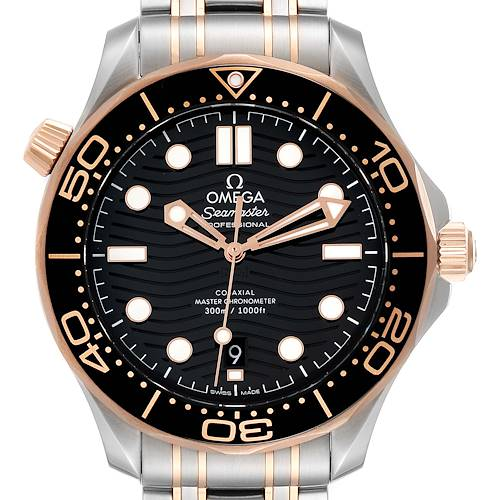 Photo of Omega Seamaster Steel Rose Gold Mens Watch 210.20.42.20.01.001 Box Card