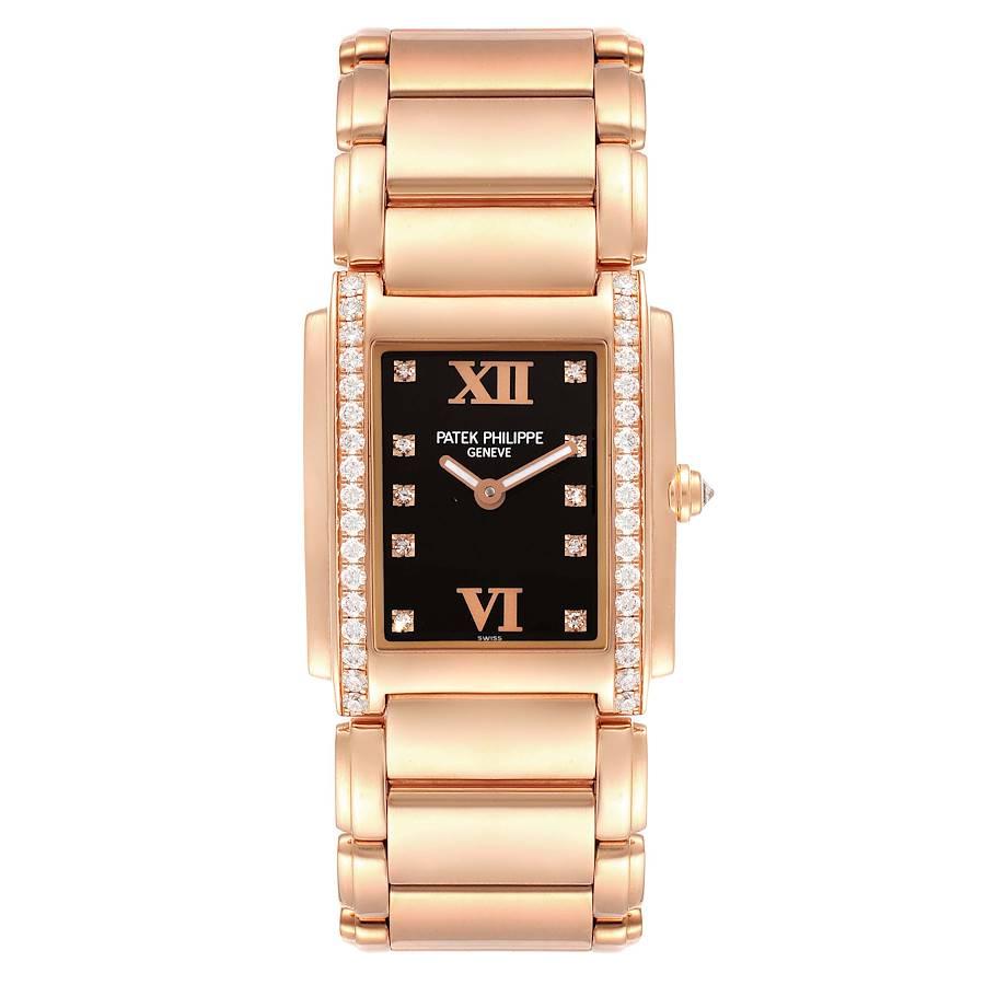 Patek Philippe Twenty-4 Rose Gold Black Dial Diamond Ladies Watch 4910 SwissWatchExpo