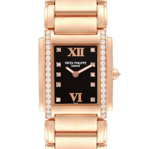 Photo of Patek Philippe Twenty-4 Rose Gold Black Dial Diamond Ladies Watch 4910