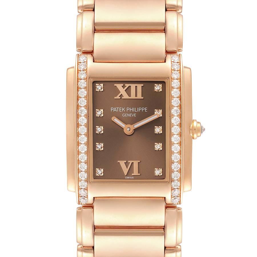Patek Philippe Twenty-4 Rose Gold Brown Dial Diamond Ladies Watch 4910 SwissWatchExpo