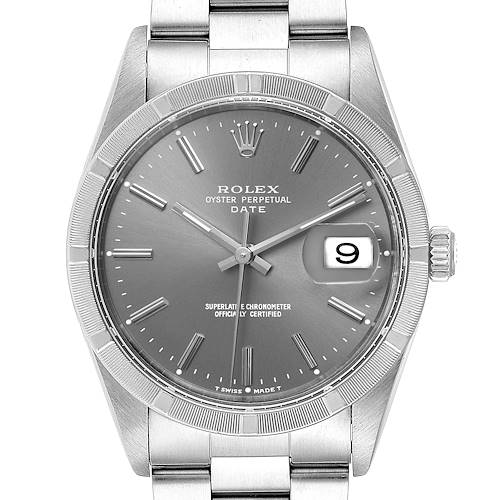 Photo of Rolex Date Grey Dial Oyster Bracelet Steel Mens Watch 15210