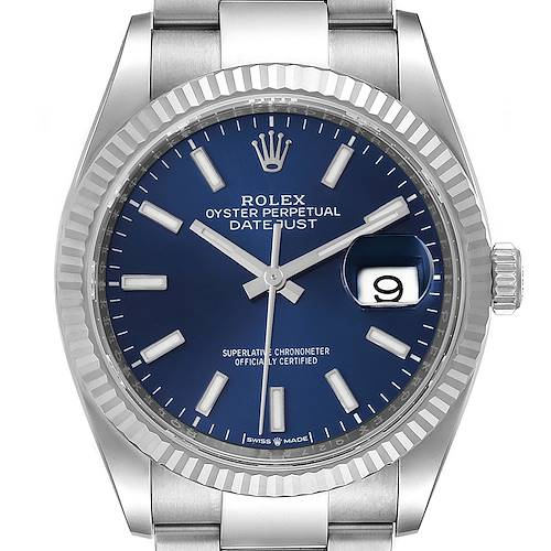 Photo of Rolex Datejust Steel White Gold Blue Dial Mens Watch 126234