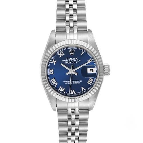 Photo of Rolex Datejust Steel White Gold Blue Roman Dial Ladies Watch 69174